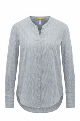 Regular-fit blouse van katoenen voile met geometrisch minidessin, Donkerblauw
