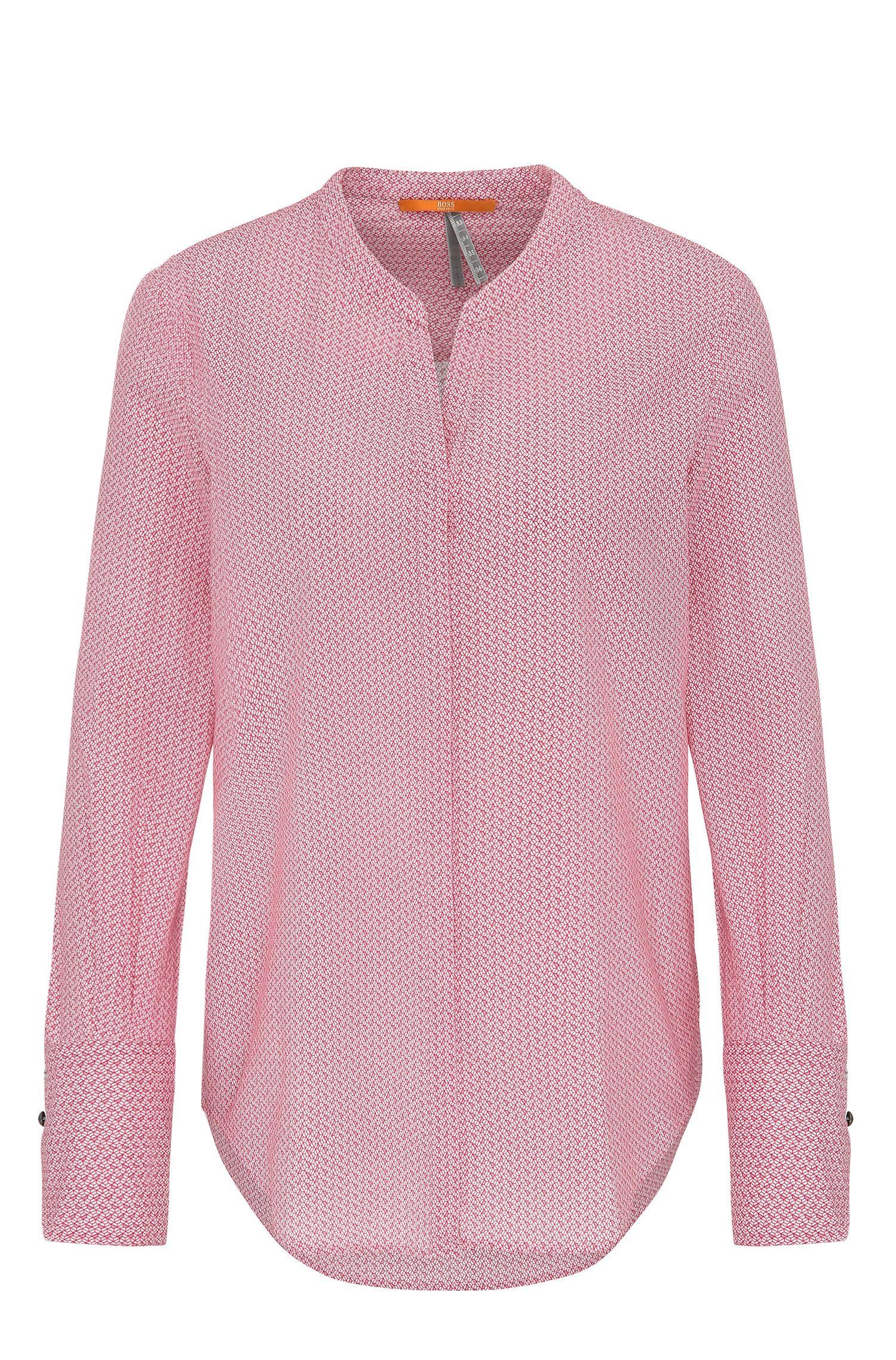 Regular-fit blouse van katoenen voile met geometrisch minidessin