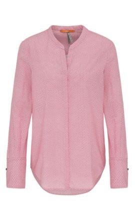 Regular-fit blouse van katoenen voile met geometrisch minidessin, Pink