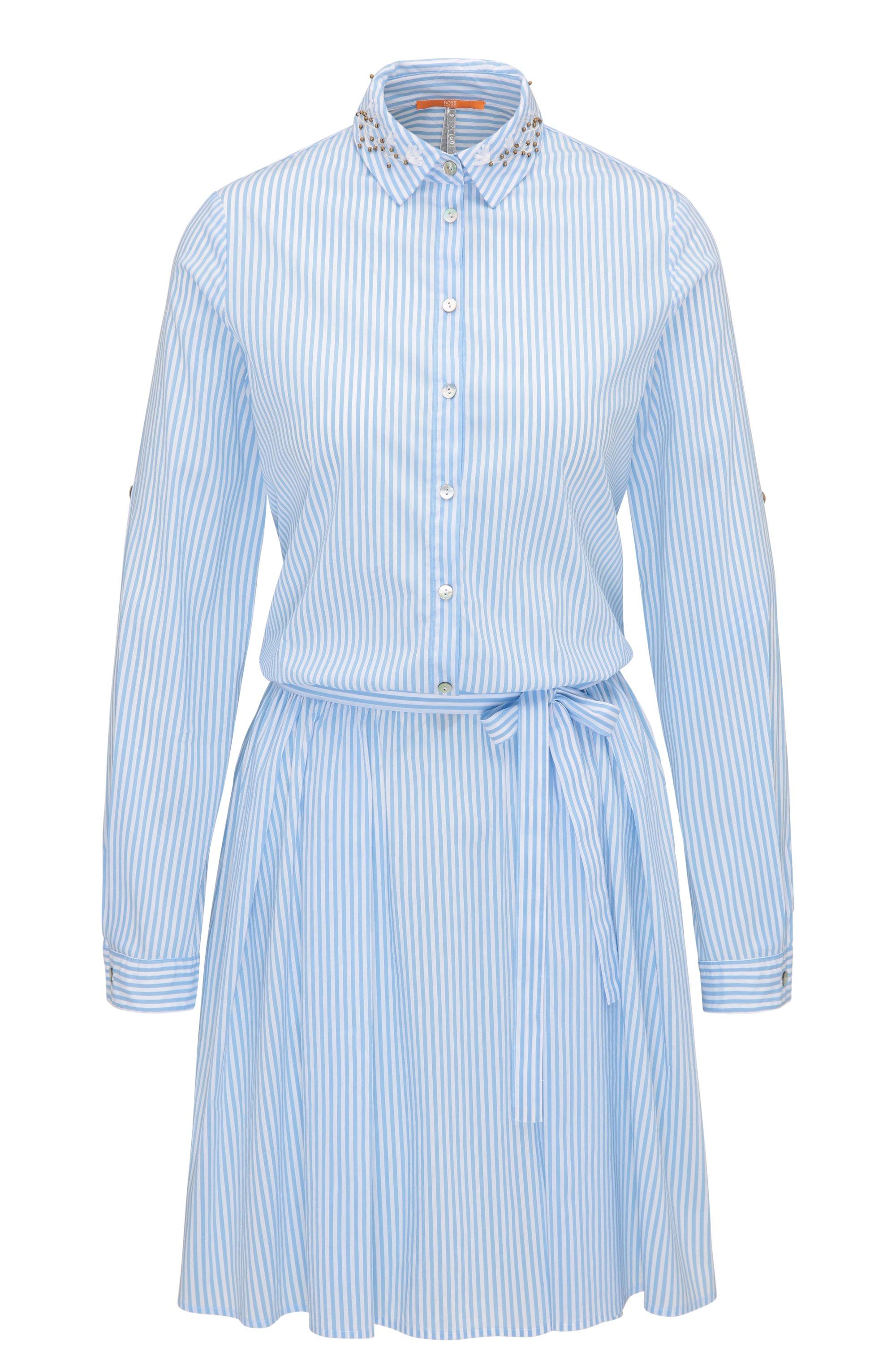Gestreiftes Hemd-Kleid aus elastischem Baumwoll-Mix mit Blumenstickerei, Dunkelblau