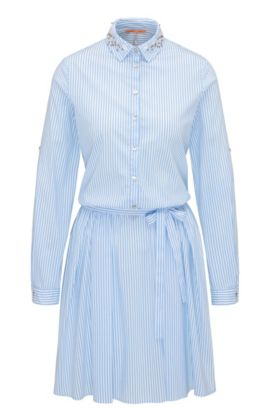 Vestido camisero a rayas con cinturón en mezcla de algodón elástico, Azul oscuro