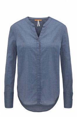 Regular-fit blouse in chambray van een katoenmix, Donkerblauw