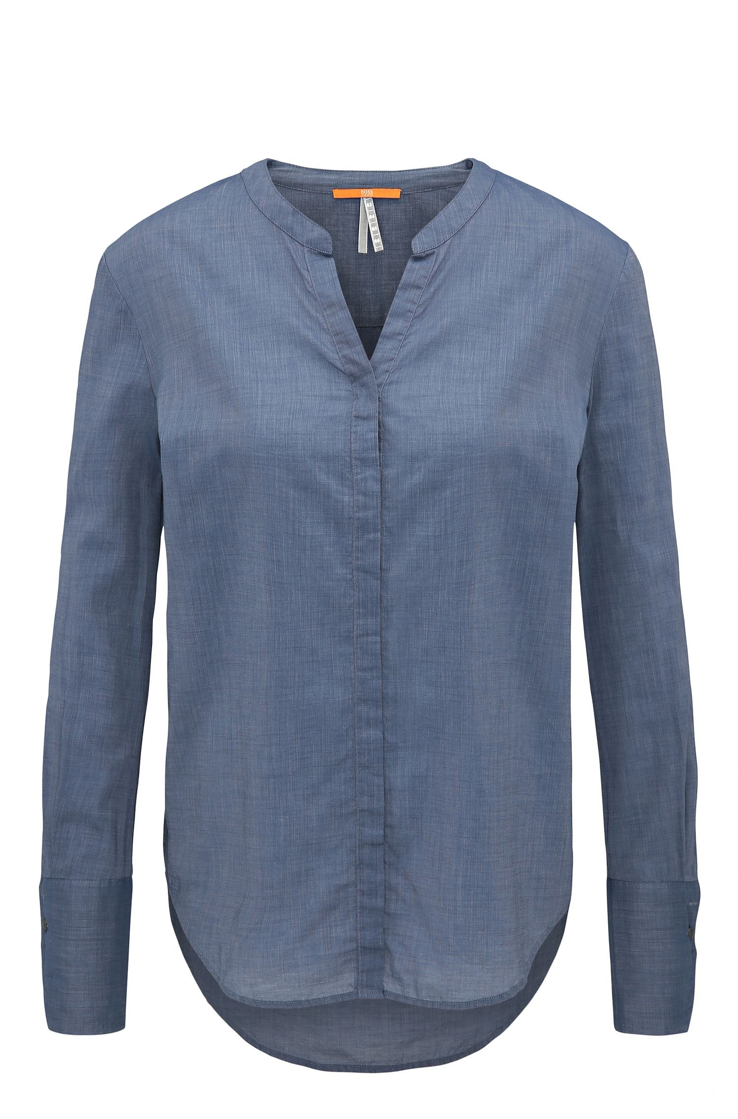 Regular-fit blouse in cotton-blend chambray