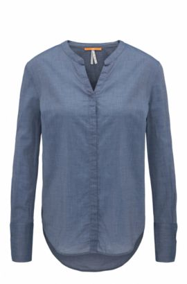 Regular-fit blouse in cotton-blend chambray, Dark Blue
