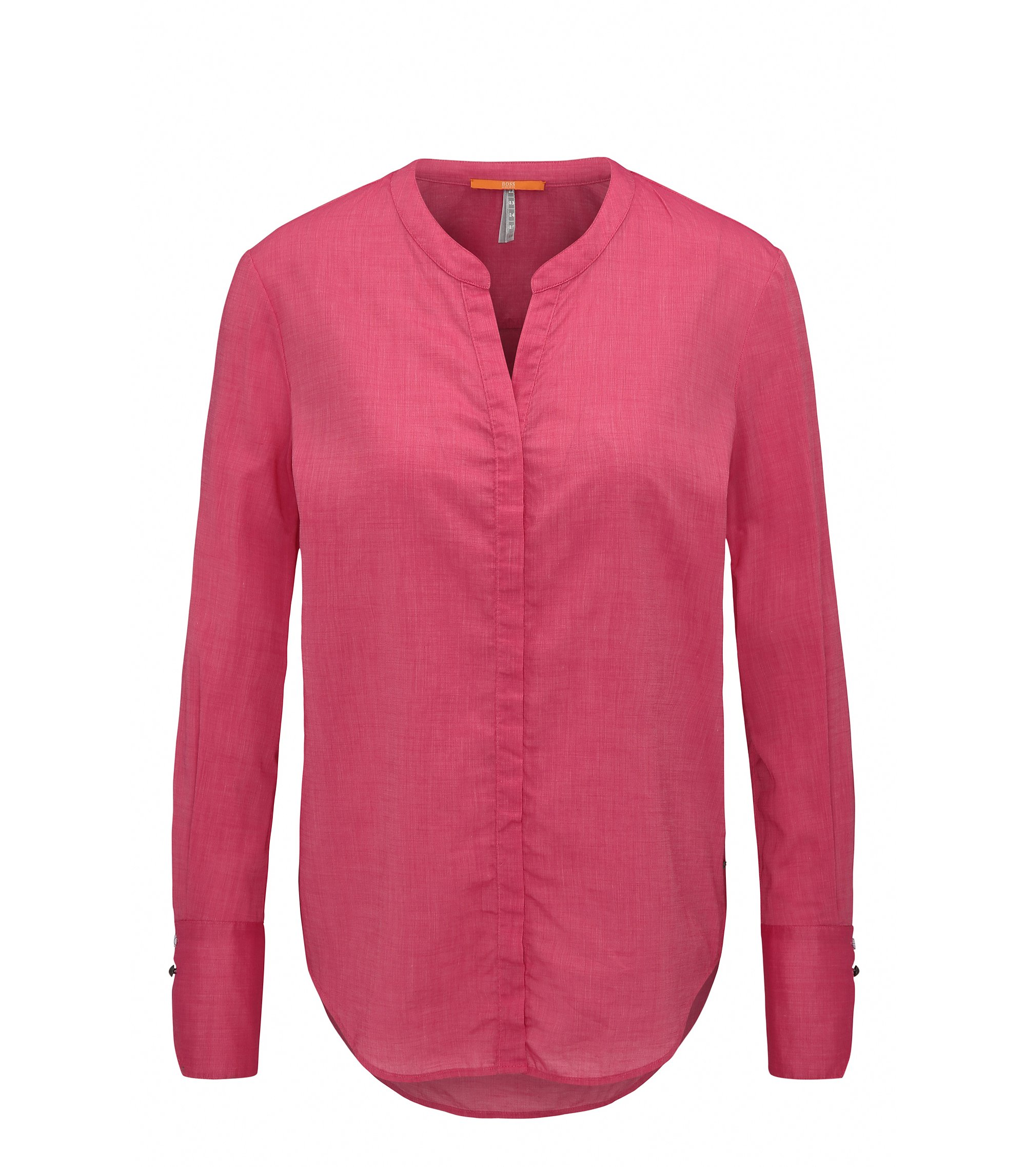 Regular-fit blouse in cotton-blend chambray, Pink