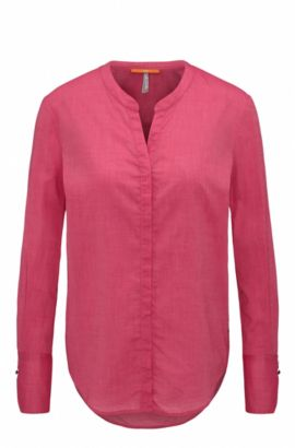 Regular-Fit Bluse aus Chambray, Pink