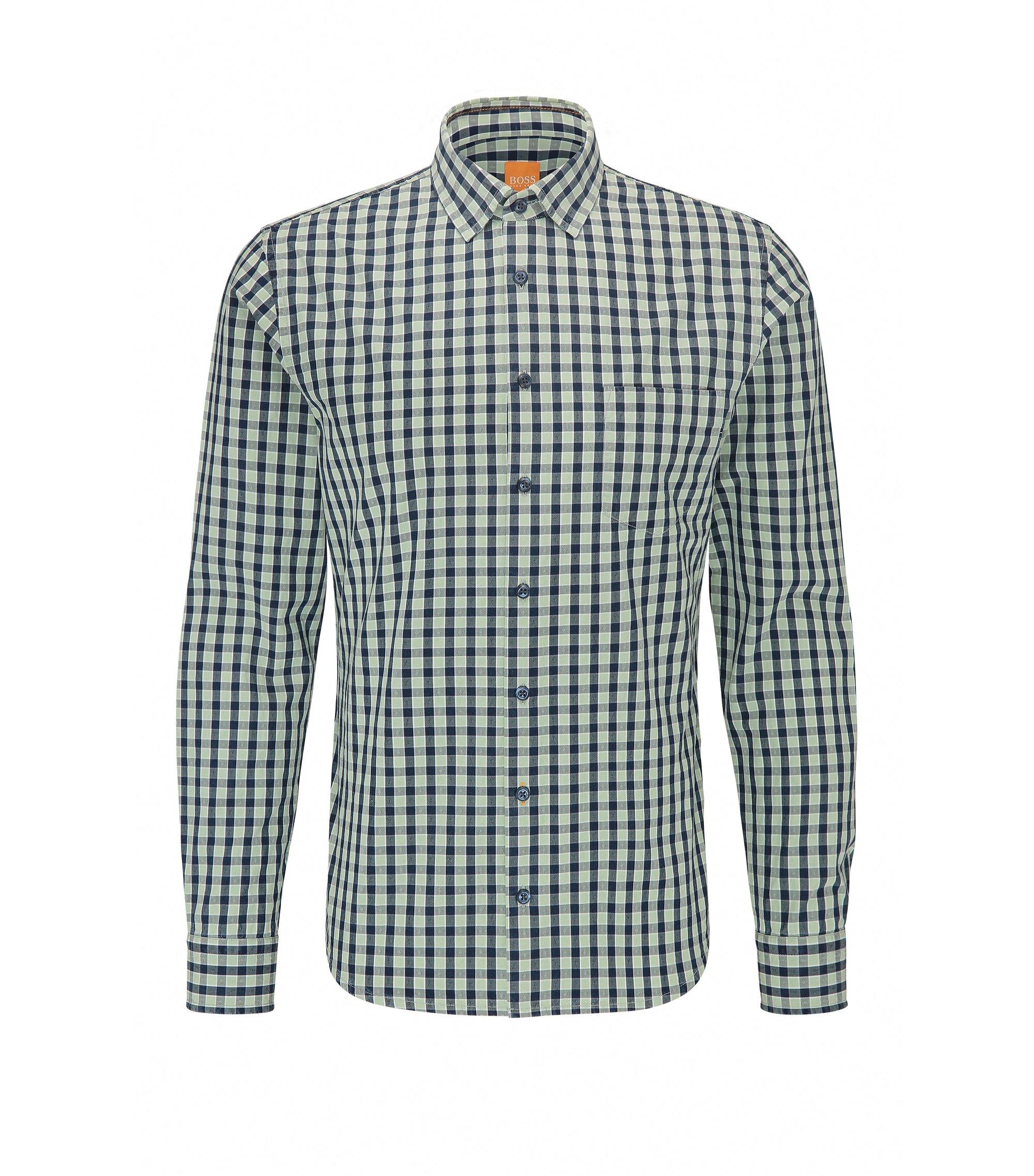 Chemise Slim Fit en coton à motif vichy, Turquoise