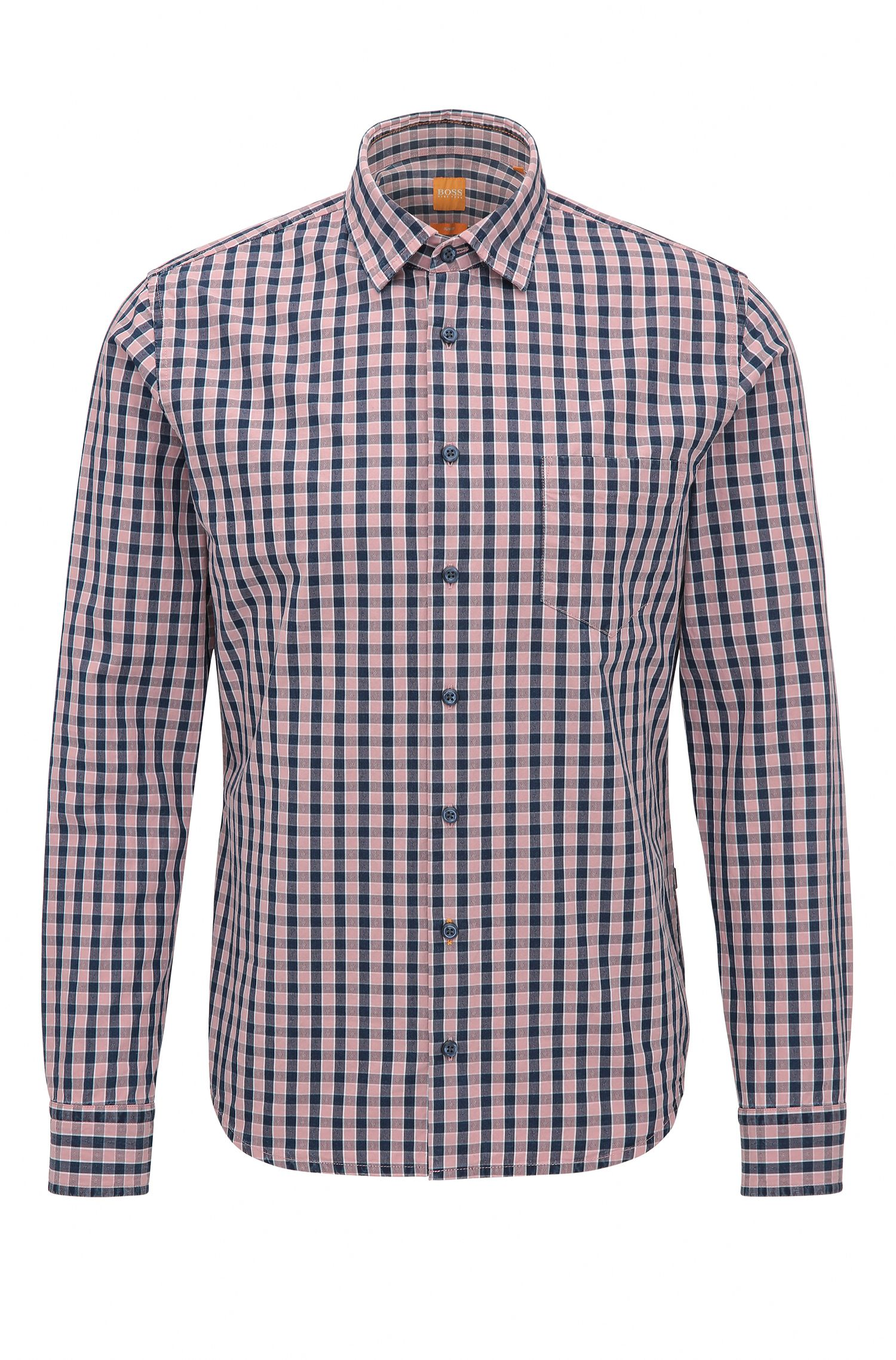Slim-fit cotton shirt with mini check
