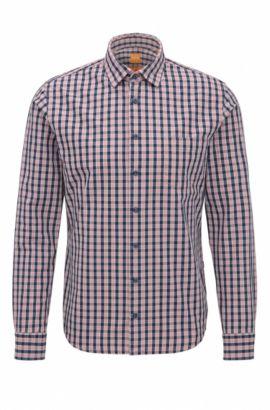 Slim-fit overhemd van katoen met miniruit, Lichtroze