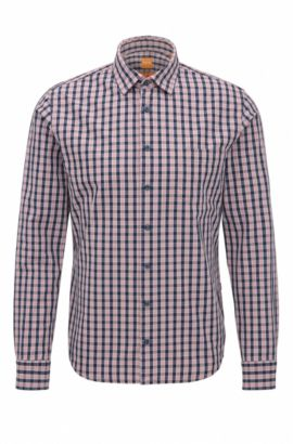 Slim-fit cotton shirt with mini check, light pink