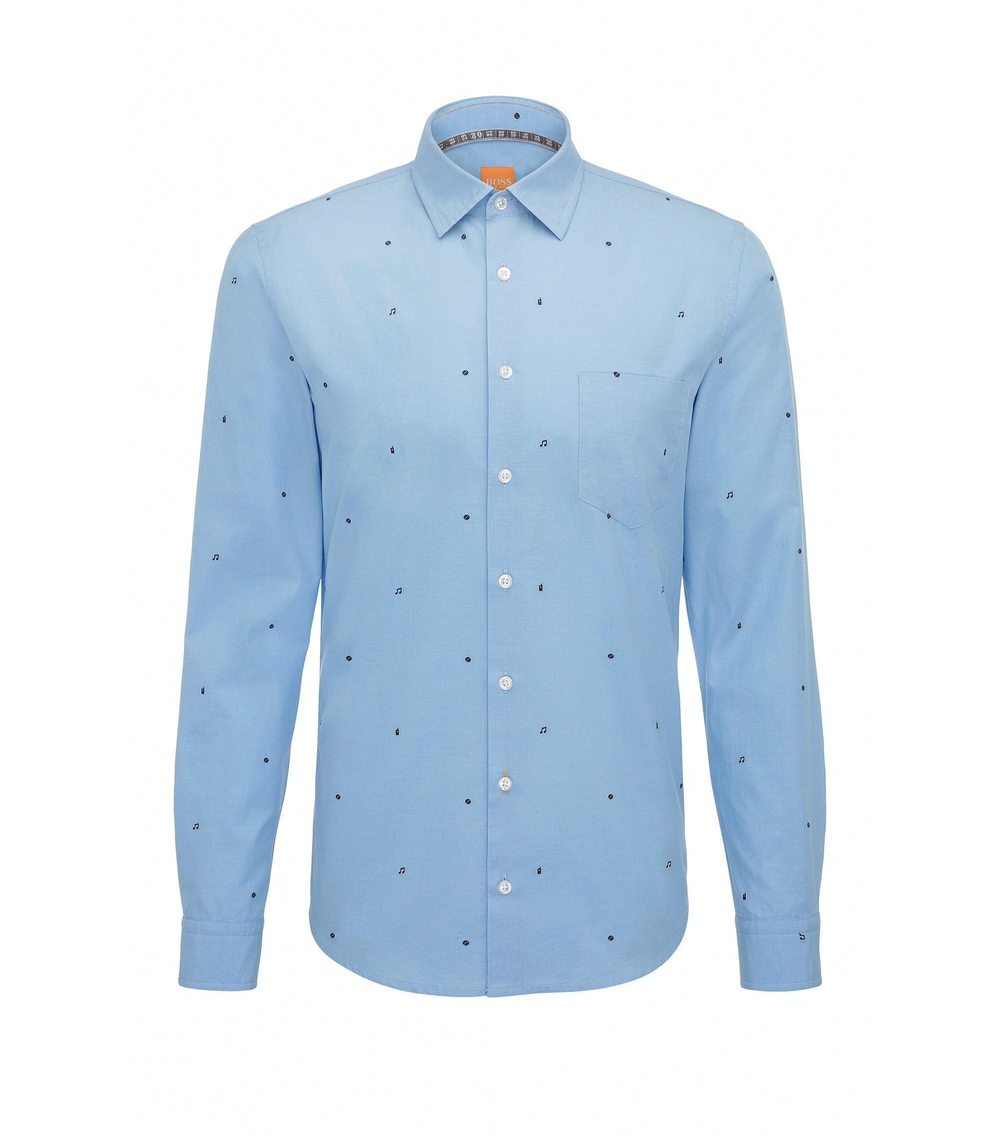 Slim-Fit Hemd aus Baumwolle mit grafischen Symbolen, Blau