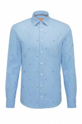 Chemise Slim Fit en coton à symboles graphiques, Bleu foncé