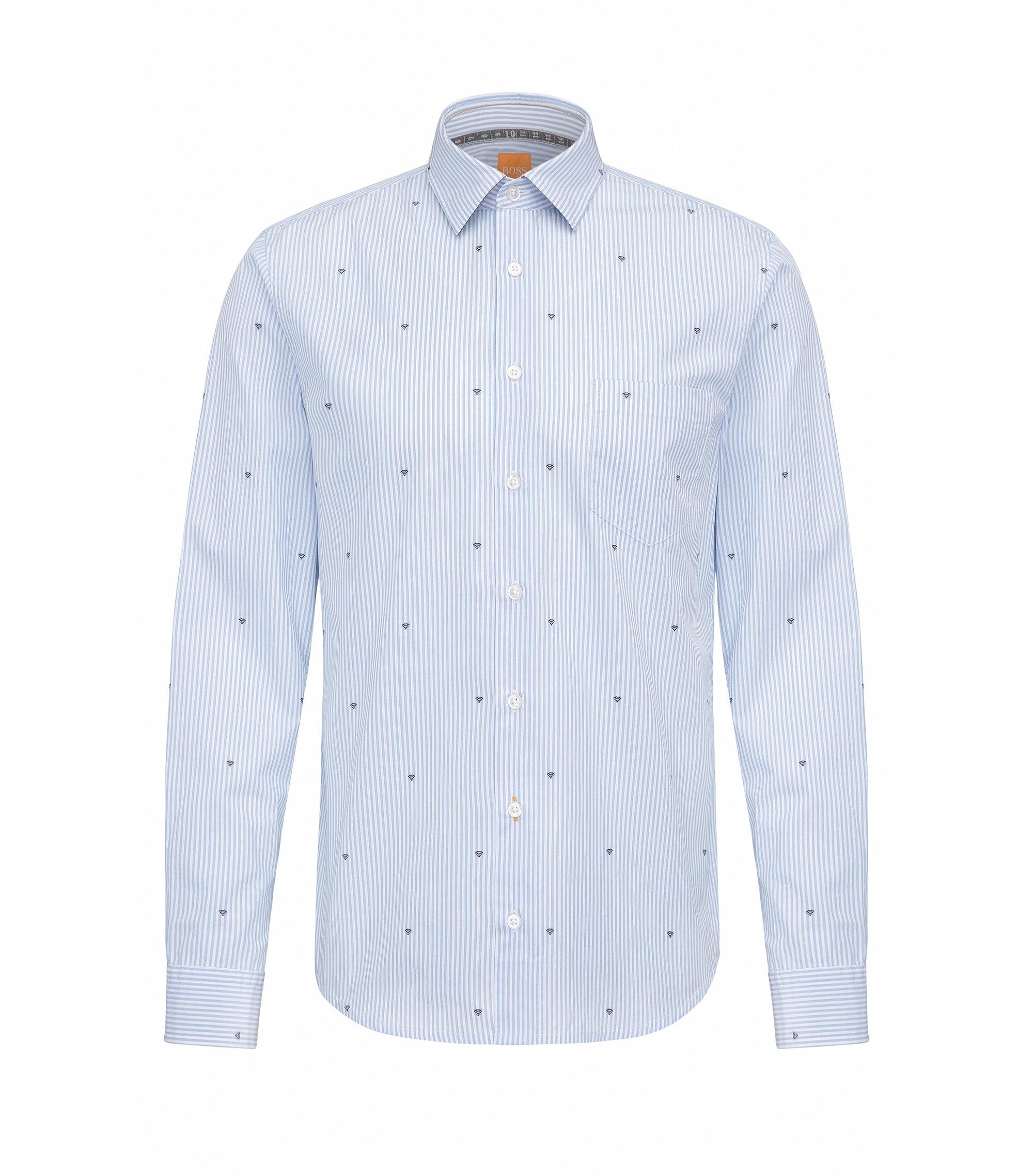 Slim-fit cotton shirt with graphic symbols, Light Blue