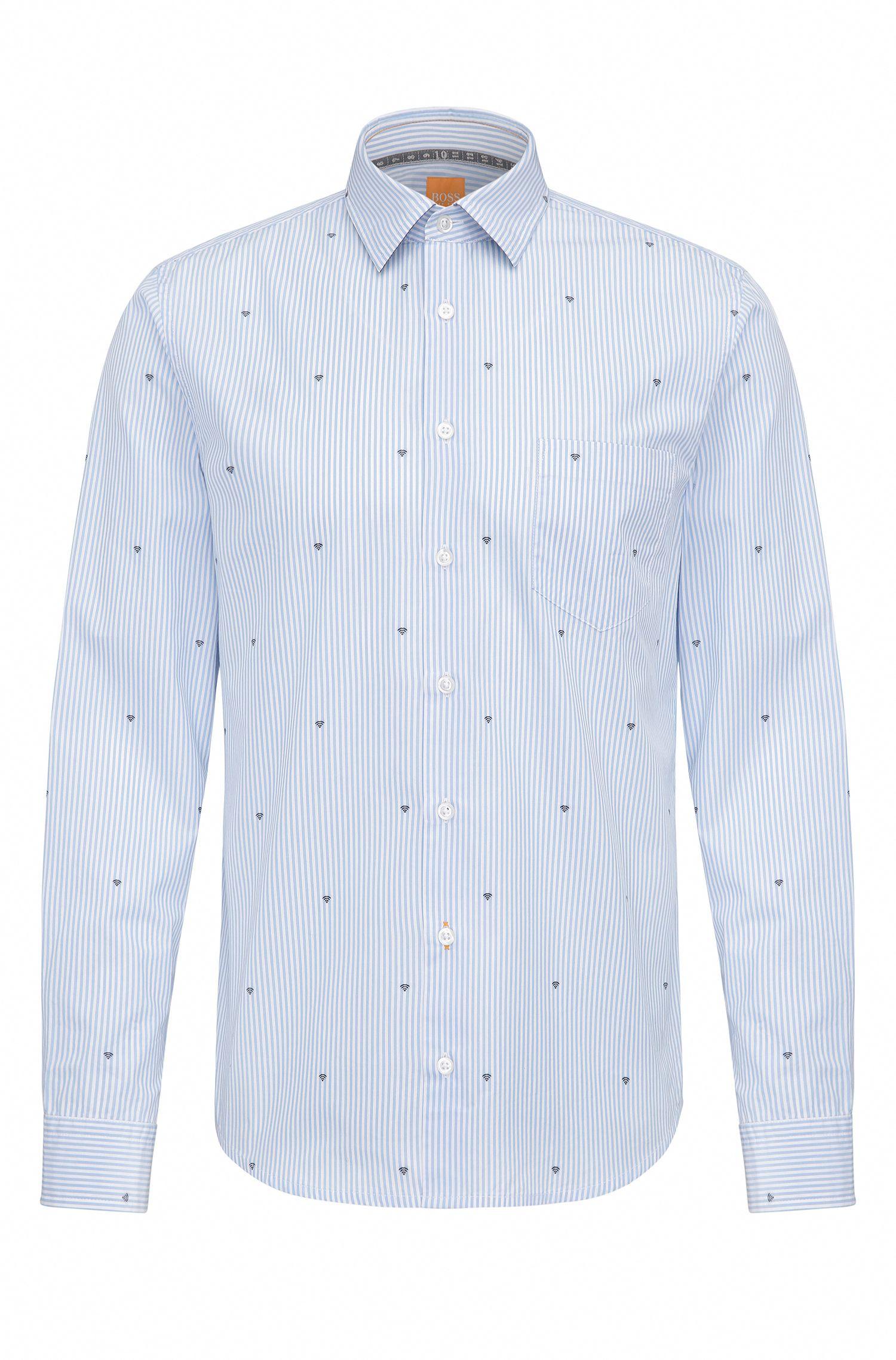 Slim-fit cotton shirt with graphic symbols