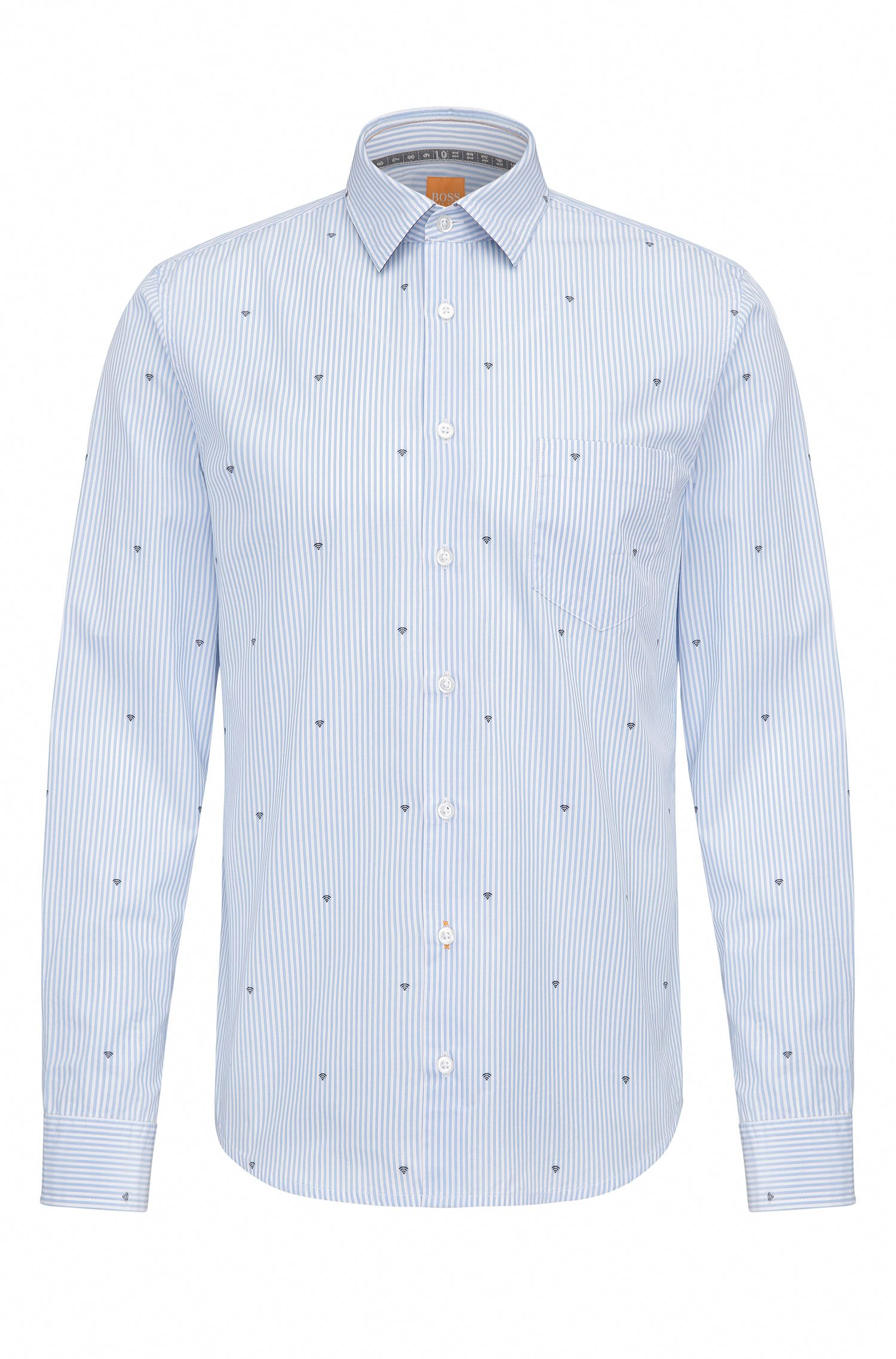 Slim-fit cotton shirt with graphic symbols