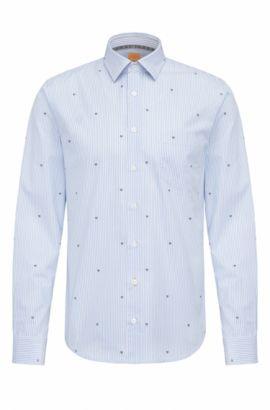 Slim-fit cotton shirt with graphic symbols, Open Blue