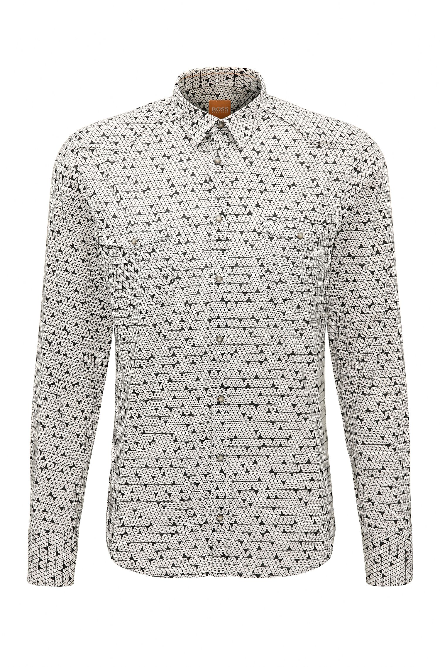 Slim-fit printed shirt in cotton blend