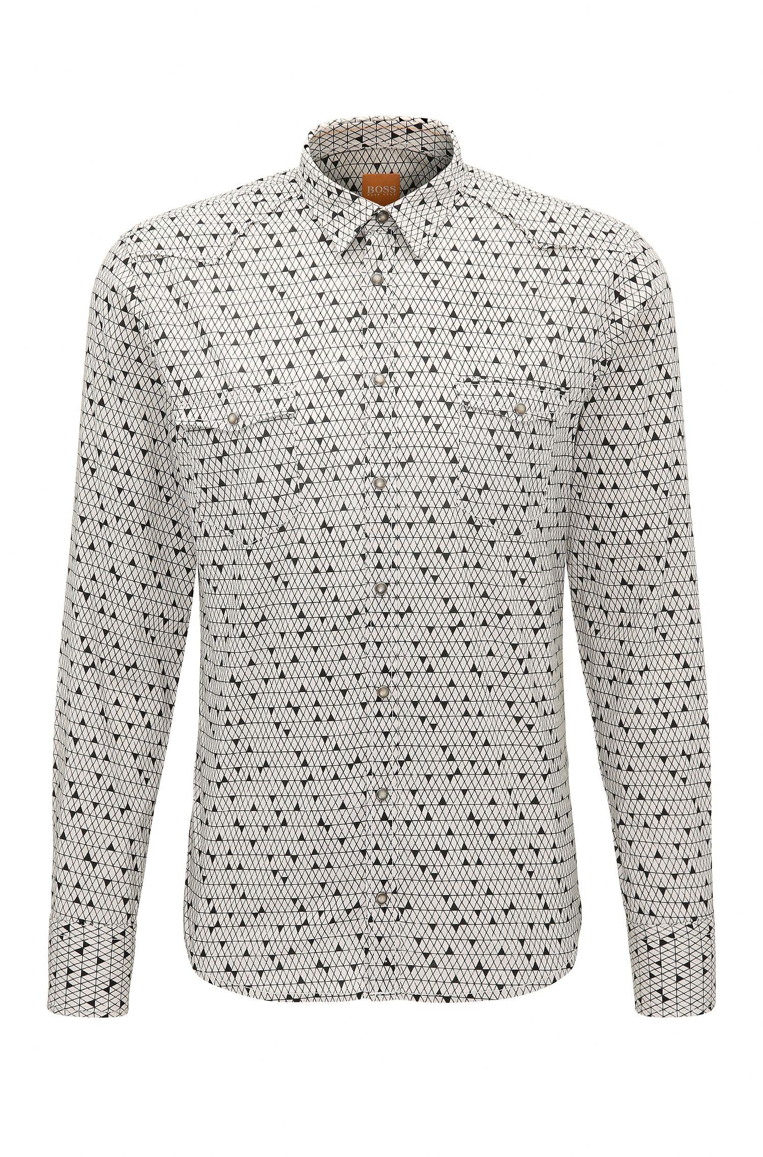 Camicia slim fit in misto cotone stampato