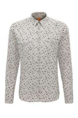 Slim-fit overhemd van een katoenmix met print, Bedrukt