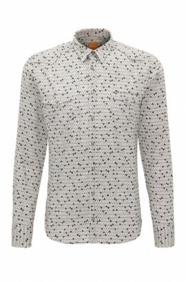 Camicia slim fit in misto cotone stampato, Bianco