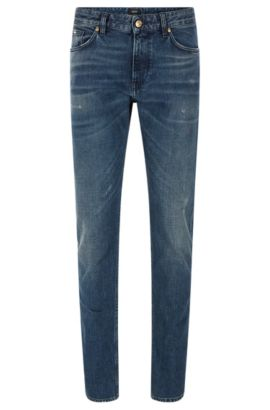 Jeans Slim Fit en denim stretch à effet usé vintage, Bleu