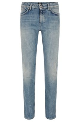 Slim-Fit Jeans aus Stretch-Baumwolle in Used-Optik, Türkis