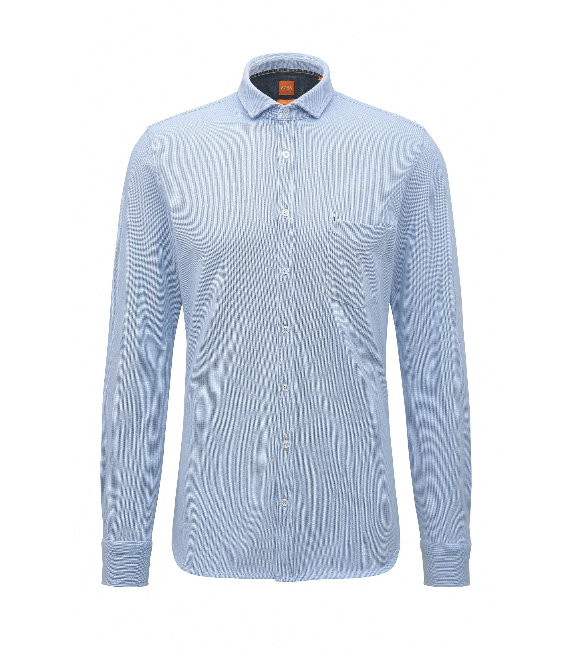 Slim-fit overhemd van single katoenjersey, Donkerblauw