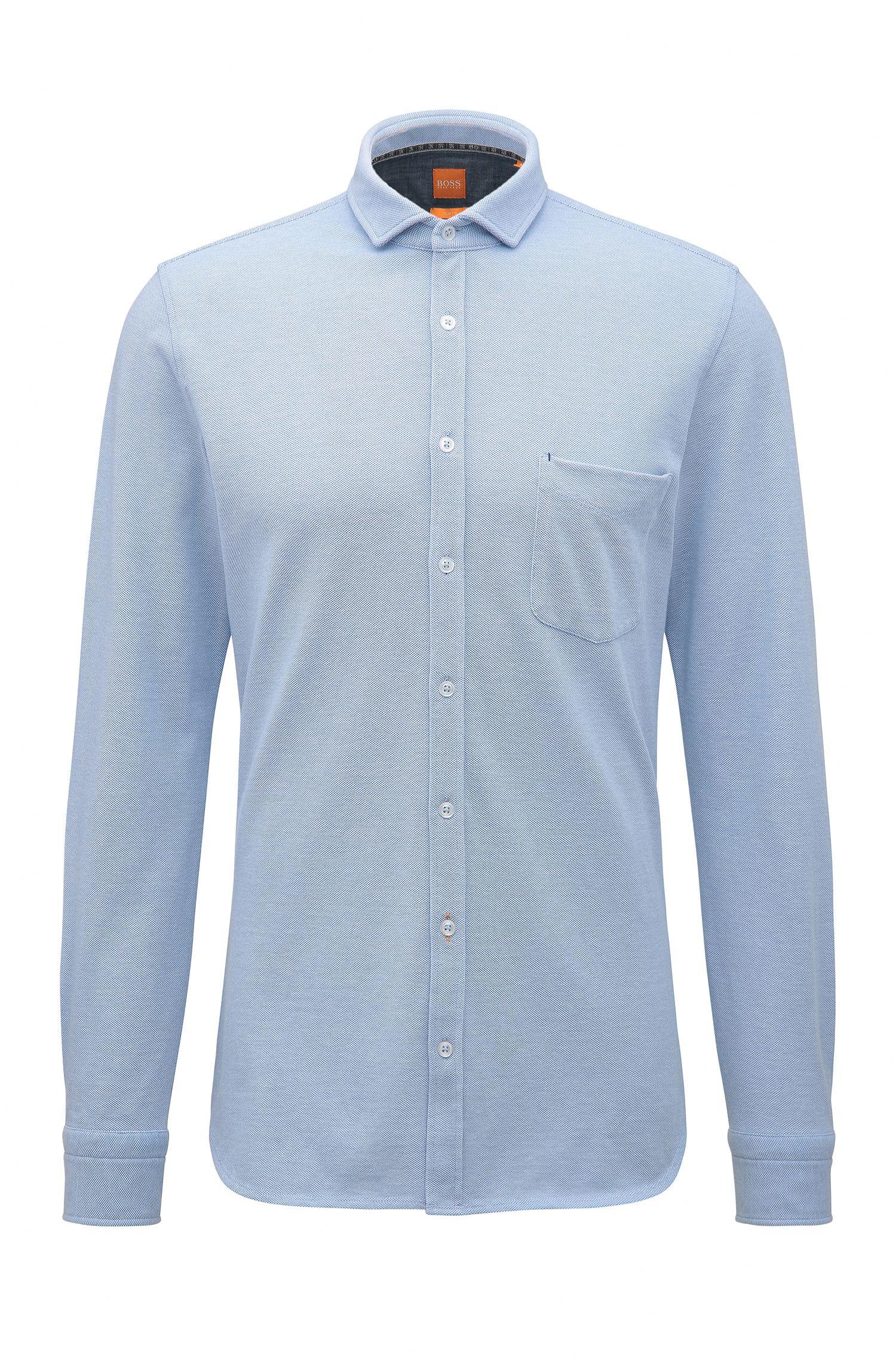 Camicia slim fit in jersey di cotone singolo