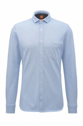Camicia slim fit in jersey di cotone singolo, Blue Scuro