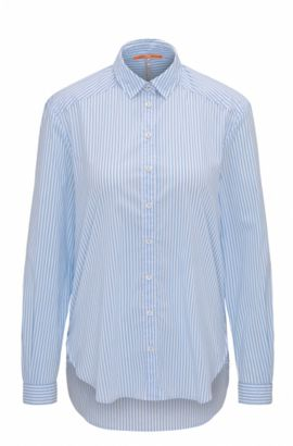 Relaxed-fit striped blouse in a stretch-cotton blend, Open Blue