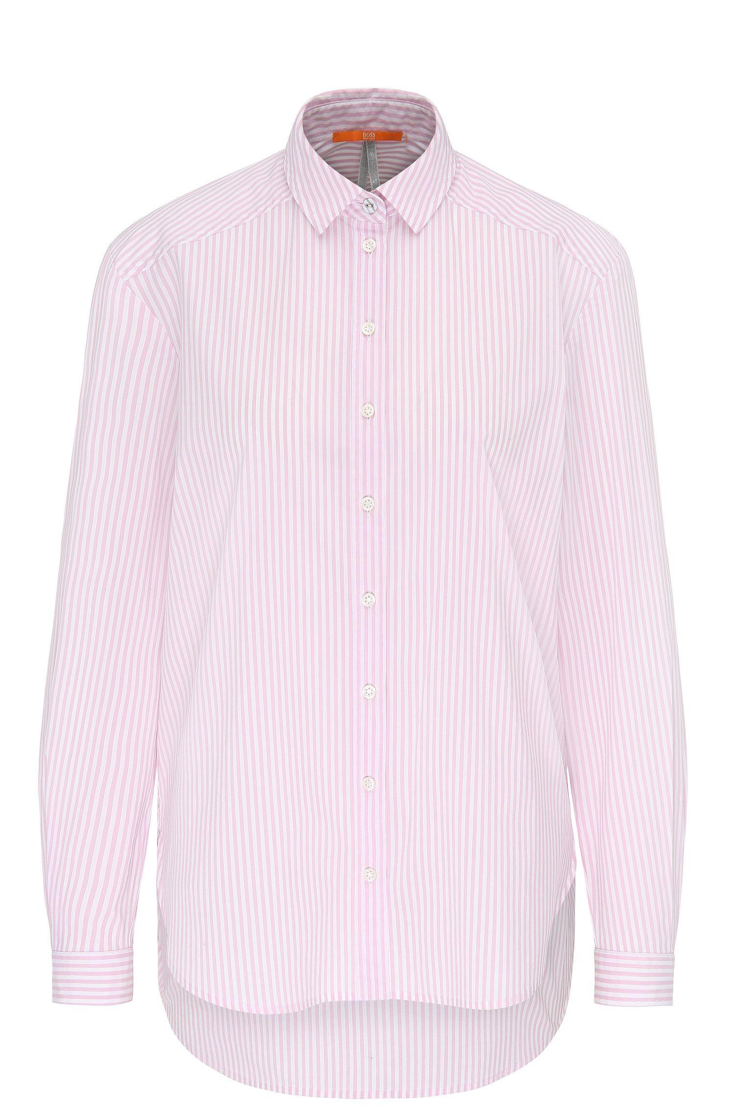 Relaxed-fit blouse van een katoenmix met stretch met streepdessin