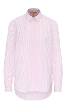 Blusa relaxed fit a rayas en mezcla de algodón elástico, Luz púrpura