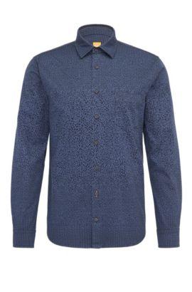 Chemise Slim Fit en coton à l'imprimé géométrique, Bleu foncé