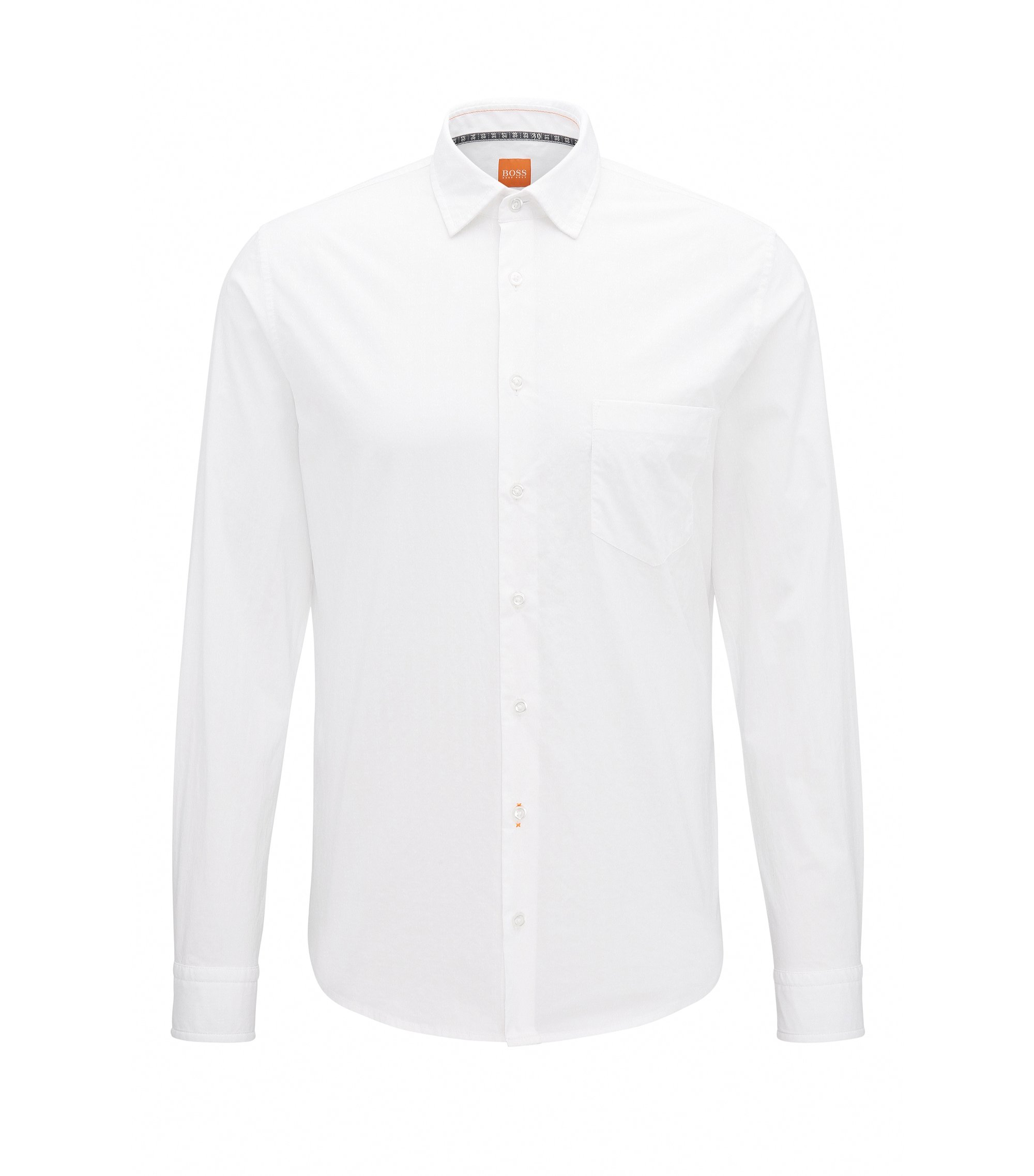 Slim-fit dobby shirt in stretch cotton, White