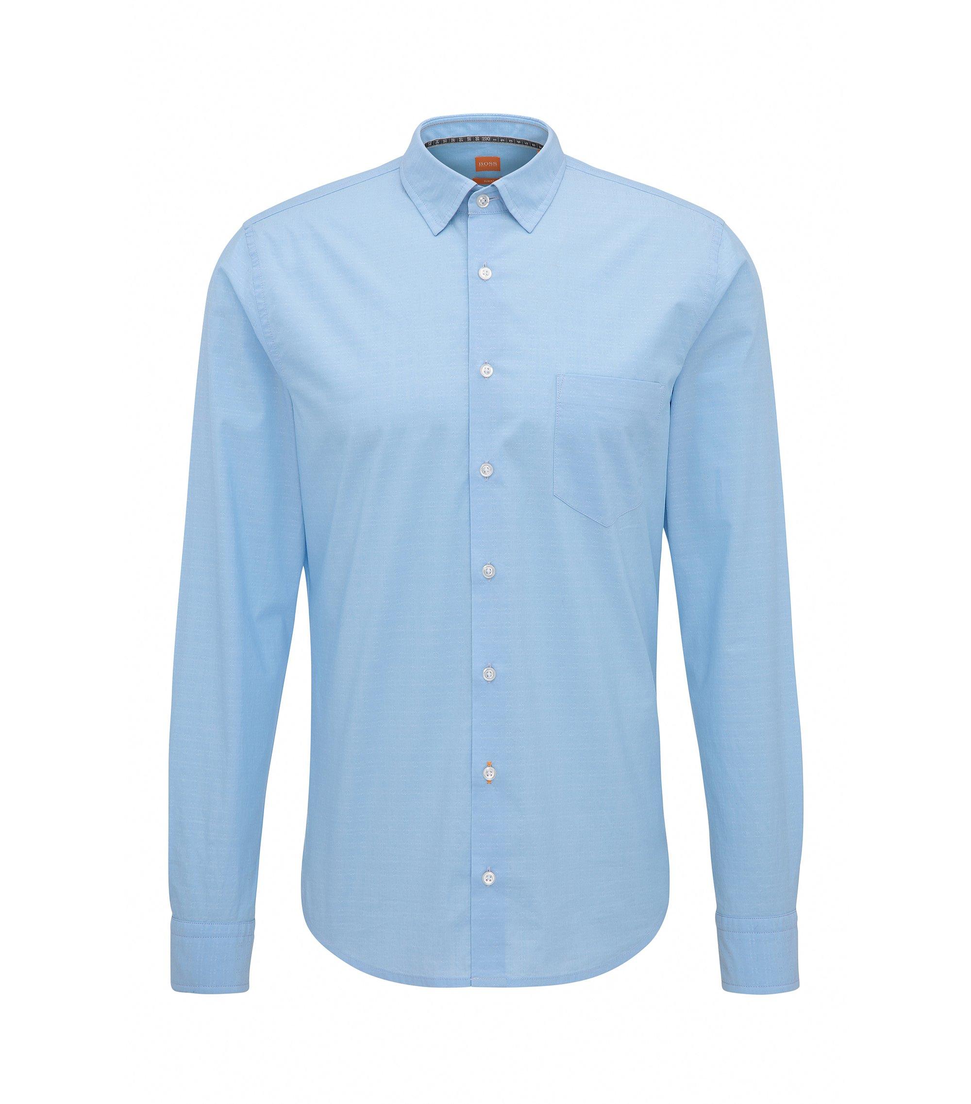 Chemise Slim Fit en coton dobby stretch, Bleu foncé