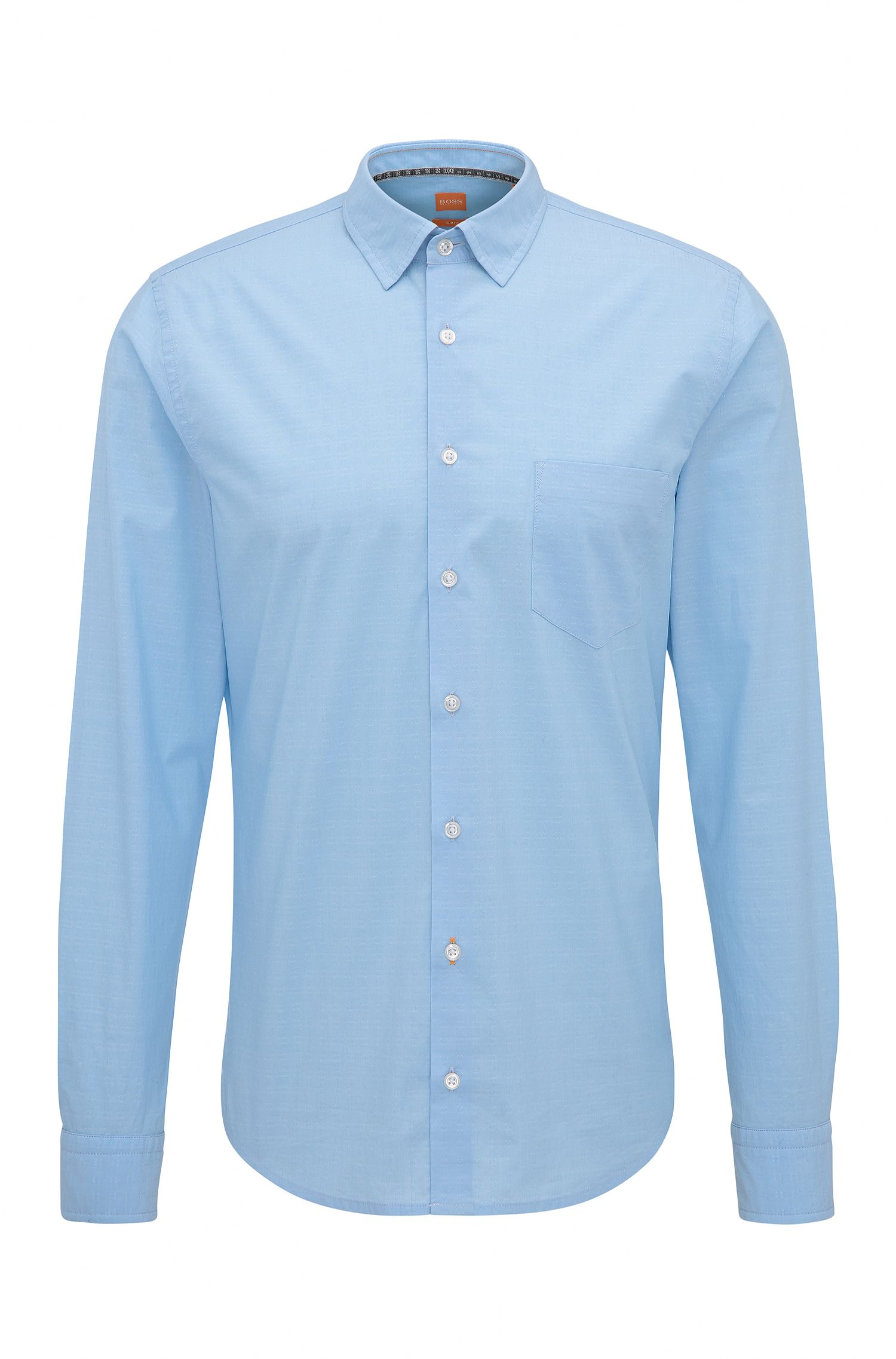 Slim-fit dobby shirt in stretch cotton