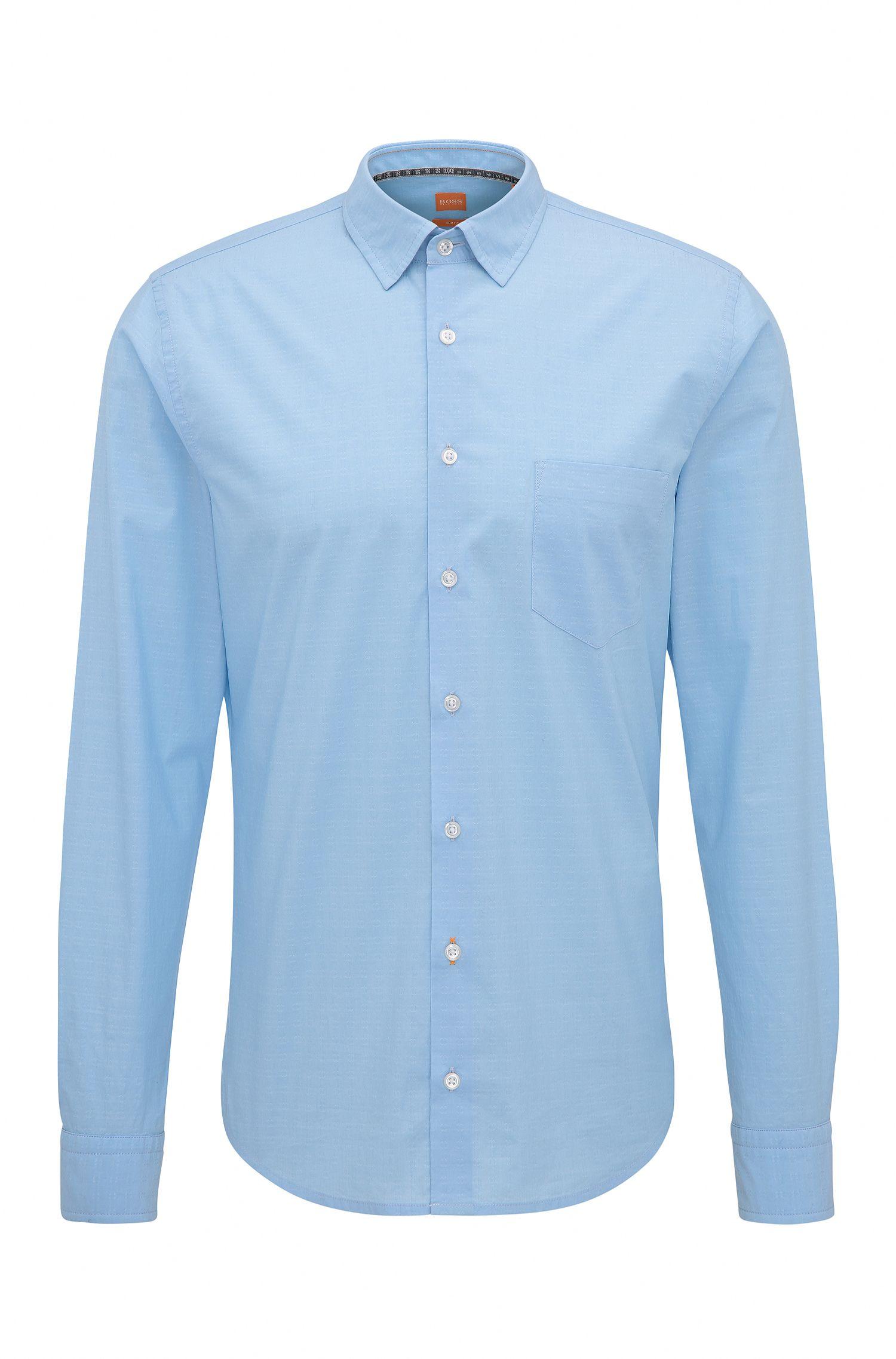 Camisa slim fit en algodón elástico de tejido dobby