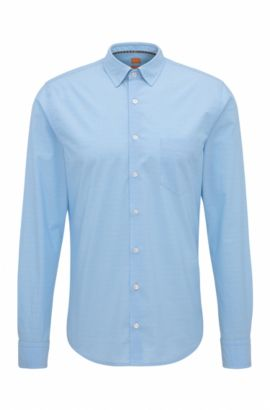 Slim-fit dobby shirt in stretch cotton, Open Blue