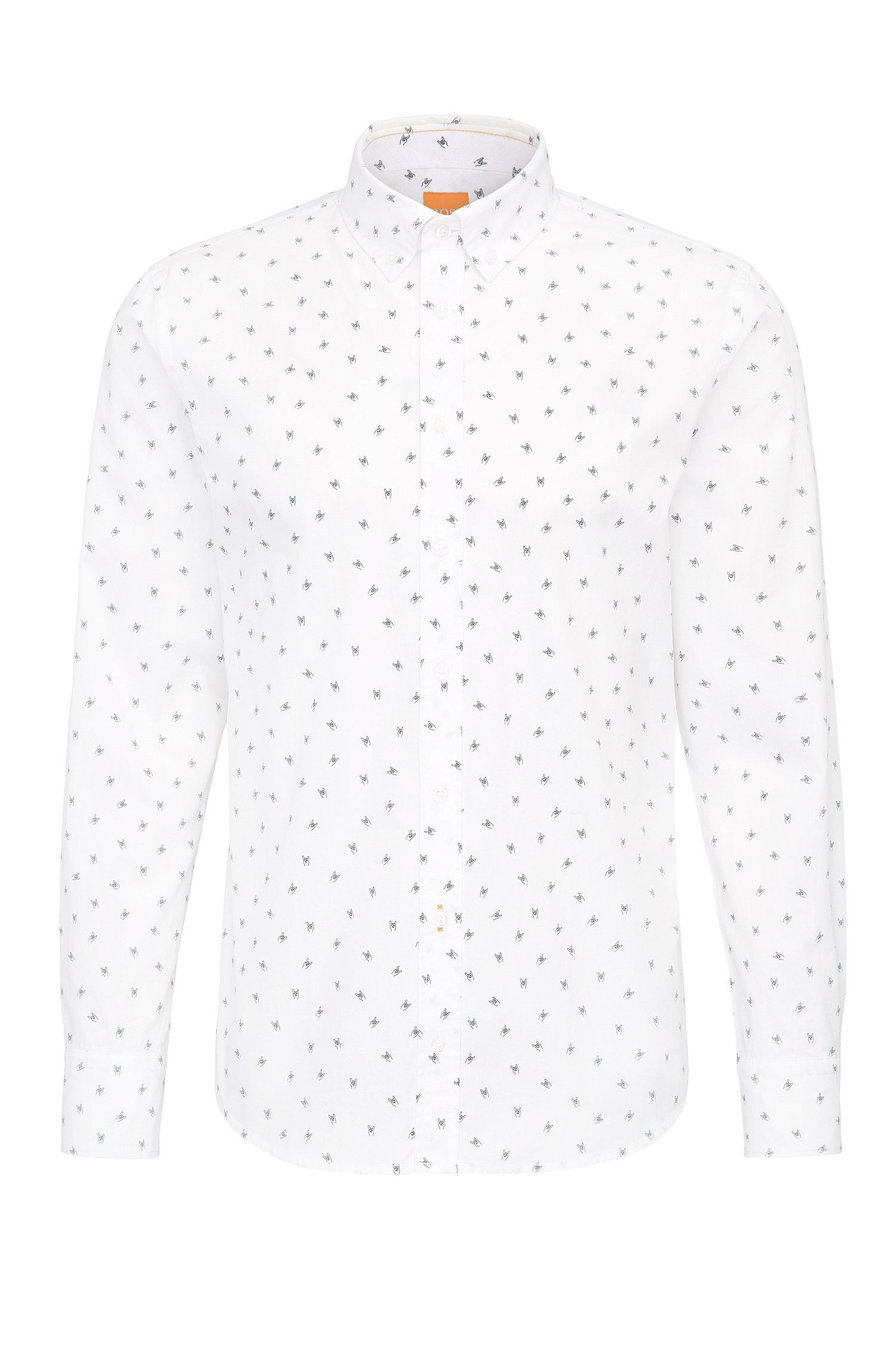 Slim-fit cotton shirt with emoji print
