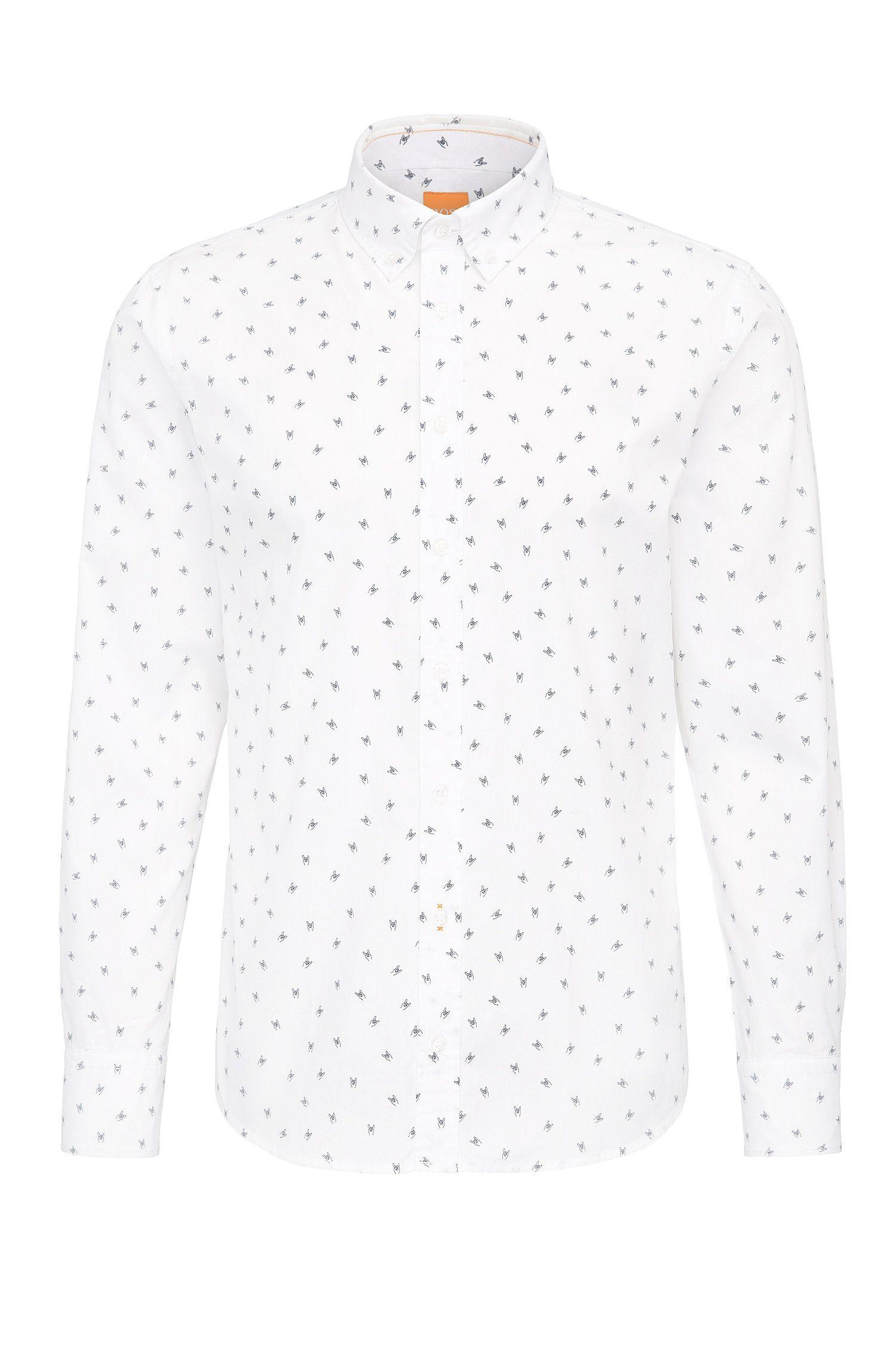 Camicia in cotone slim fit con stampa con emoji