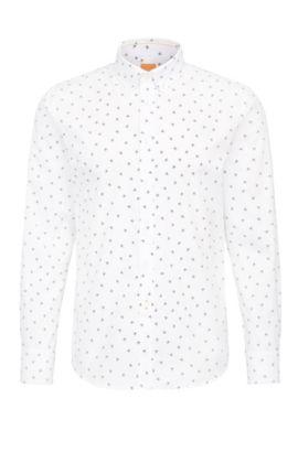 Camicia in cotone slim fit con stampa con emoji, Naturale