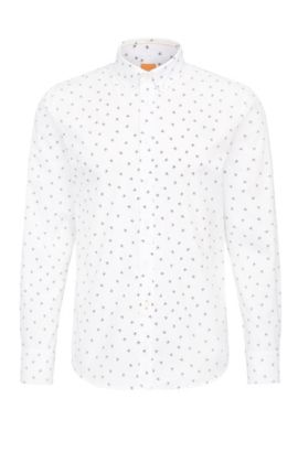 Slim-fit cotton shirt with emoji print, Natural
