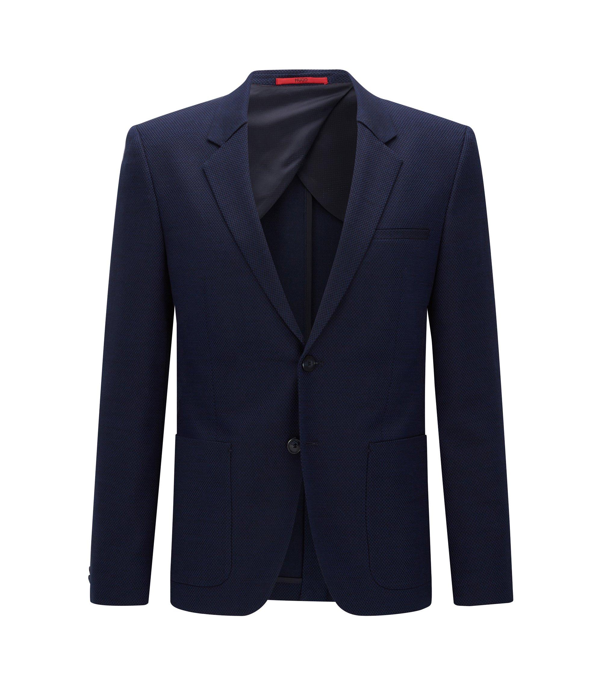 Slim-fit kostuumcolbert van stretchmateriaal, Donkerblauw