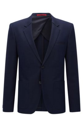 Slim-fit suit jacket in stretch fabric, Open Blue