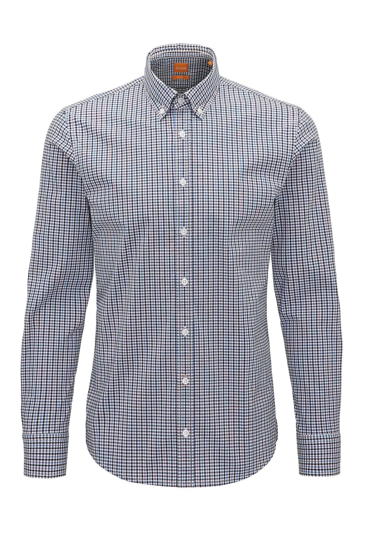 Camisa slim fit en algodón elástico a cuadros