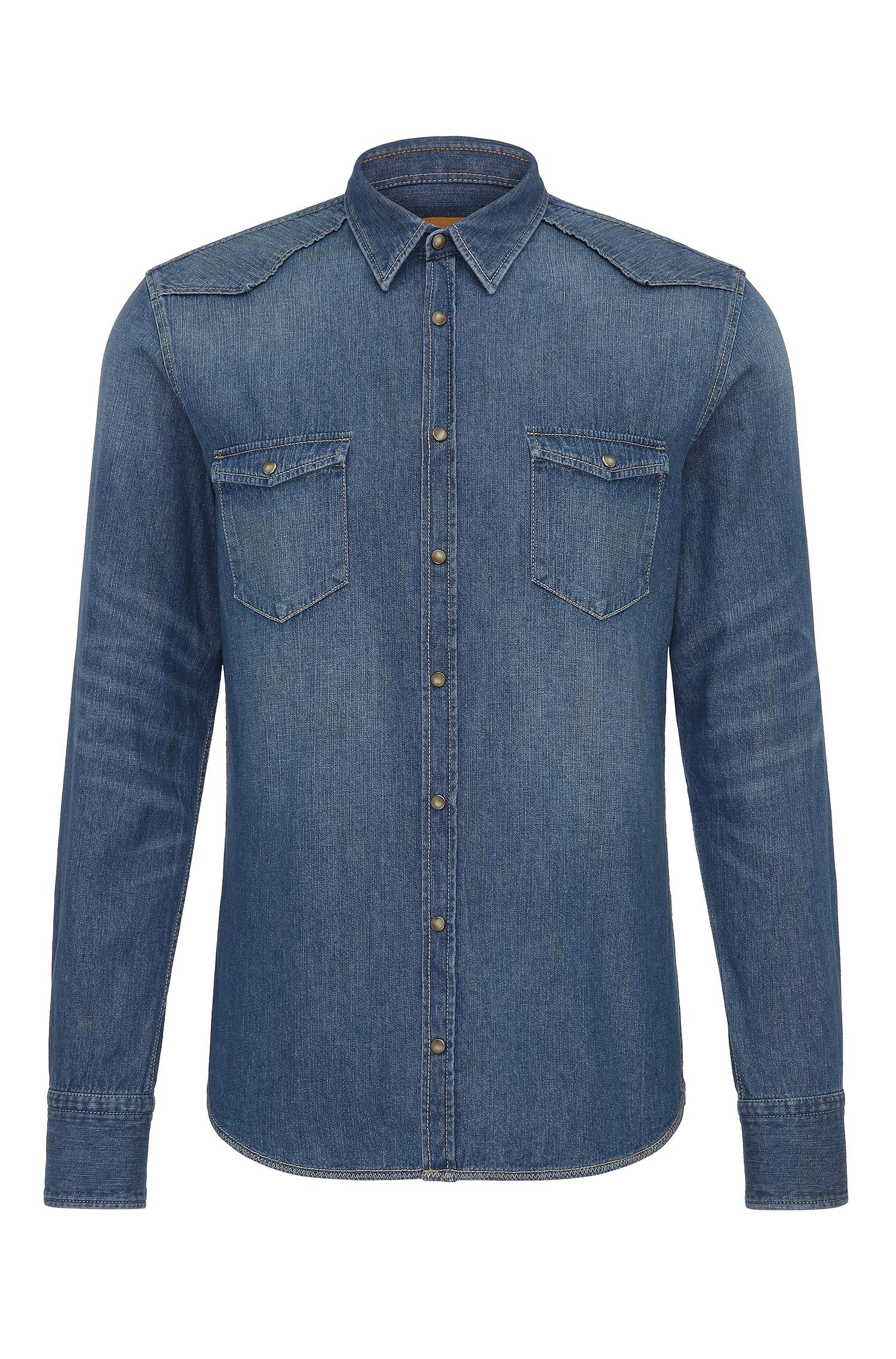 Camisa slim fit del Oeste en algodón denim