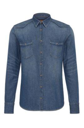 Slim-Fit Western-Hemd aus Baumwoll-Denim, Dunkelblau