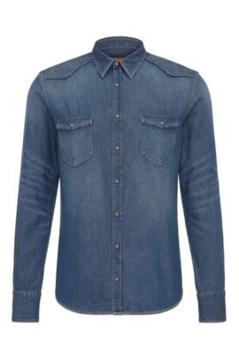 Slim-fit Western shirt in denim cotton, Dark Blue