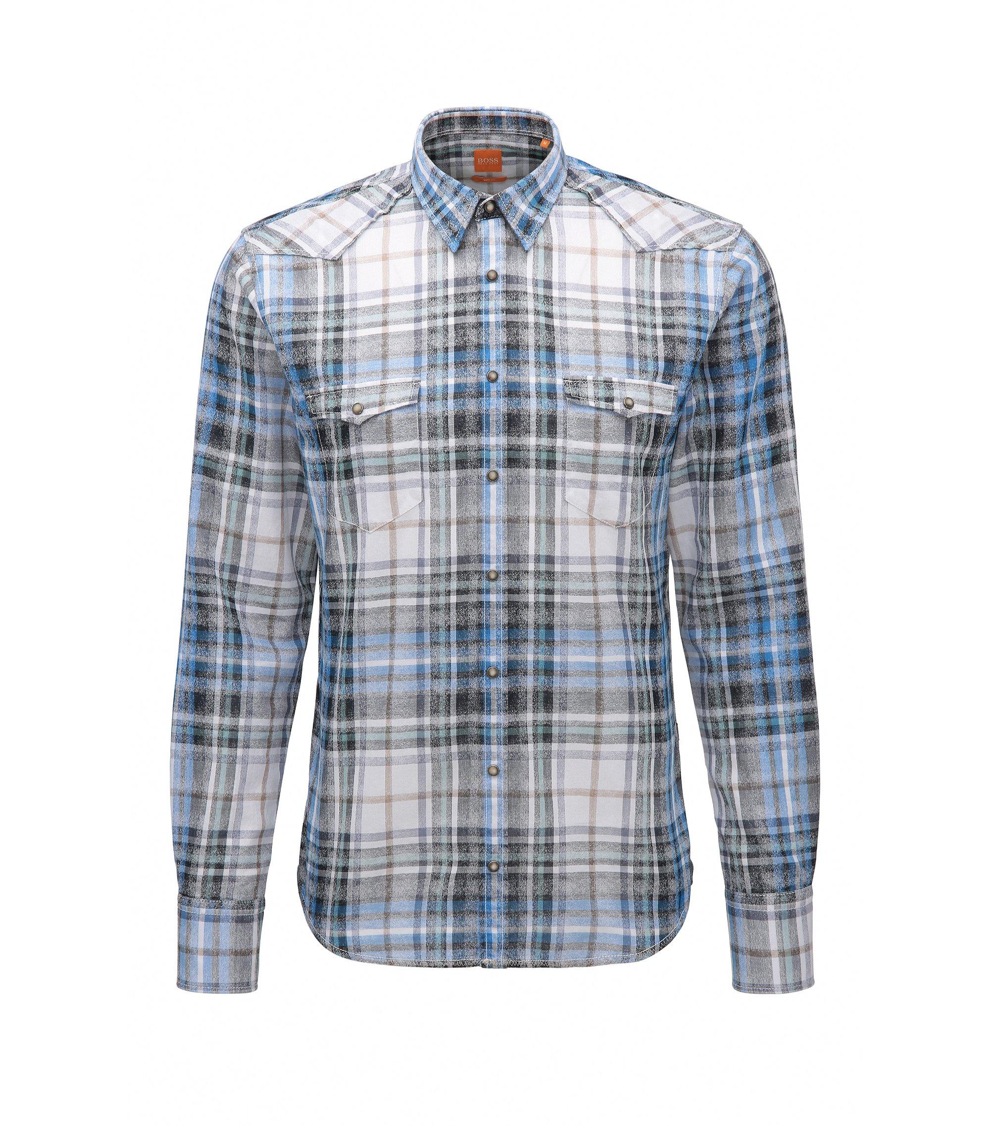 Slim-fit overhemd in een jacquard van katoentwill, Donkerblauw