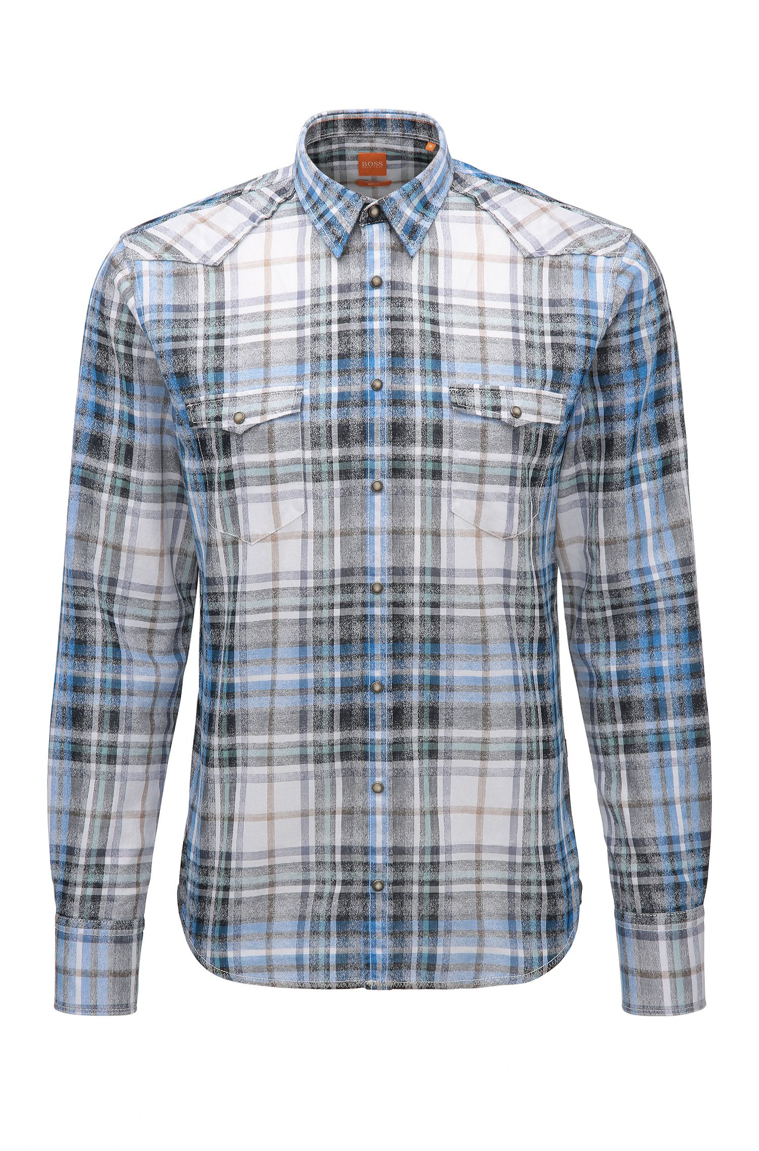 Slim-fit shirt in cotton jacquard twill